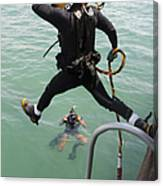 A Photographer Documents A Navy Diver Canvas Print