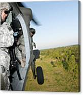 A Platoon Sergeant Prepares To Land Canvas Print
