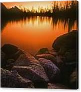 A Pond At Sunset, British Columbia Canvas Print
