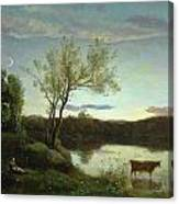 A Pond With Three Cows And A Crescent Moon Canvas Print