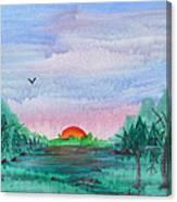 A Rainy Misty Sunrise Canvas Print