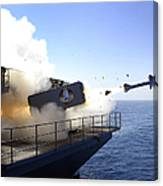 A Rim-7 Sea Sparrow Missile Launches Canvas Print