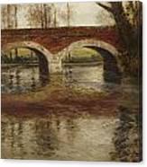 A River Landscape With A Bridge  Canvas Print