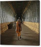 A Sadu Walks Through Rameswaram Temples Canvas Print