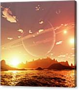 A Scene On A Distant Moon Orbiting Canvas Print