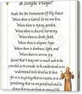 A Simple Prayer By Saint Francis Canvas Print
