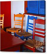 Colorful Table And Chairs Greece Canvas Print
