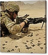 A Soldier Clears The Mk-48 Machine Gun Canvas Print