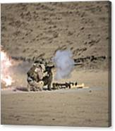 A Soldier Fires A Rocket-propelled Canvas Print