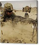 A Soldier Firing His Mk-48 Machine Gun Canvas Print