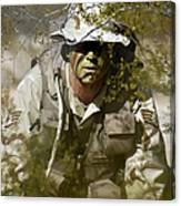 A Soldier Practices Evasion Maneuvers Canvas Print