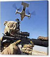 A Soldier Provides Security As An Mv-22 Canvas Print