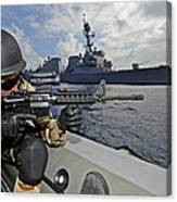 A Soldier Provides Security In A Rigid Canvas Print