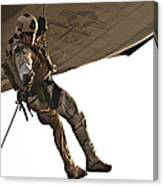 A Soldier Rappels From An Mh-60s Canvas Print