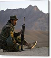 A Soldier With The Afghan National Army Canvas Print