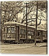 A Streetcar Named St. Charles Sepia Canvas Print