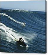 A Surfer And Jet-skier Off The North Canvas Print
