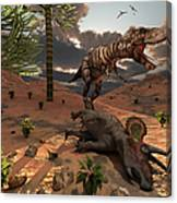 A T-rex Comes Across The Carcass Canvas Print
