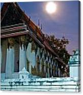 A Tempel In A Wat During A Full Moon Night  Canvas Print