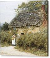 A Thatched Cottage Near Peaslake Surrey Canvas Print