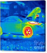 A Thermogram Of A Man Working On A Car Canvas Print