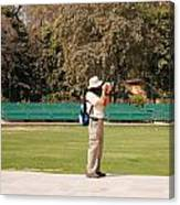 A Tourist Using A High Powered Camera Inside The Red Court In New Delhi Canvas Print