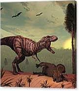 A Triceratops Falls Victim Canvas Print