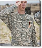 A U.s Army Soldier And Recipient Canvas Print