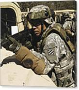 A U.s. Army Soldier Pulls Security Canvas Print