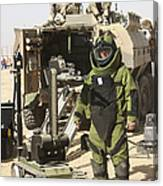 A U.s. Marine Dressed In A Bomb Suit Canvas Print