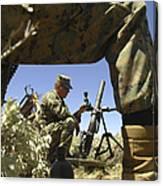 A U.s. Marine Mortarman Trains On An Canvas Print