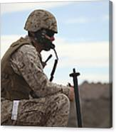 A U.s. Marine Uses A Field Phone Canvas Print