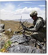 A U.s. Soldier Sets Up A Portable Canvas Print