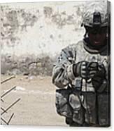 A U.s. Soldier Tests A Tactical Canvas Print