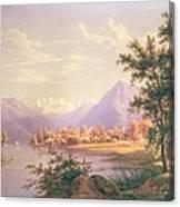 A View Of Scherzingen On The Lake Of Thun Canvas Print