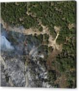 A Wildfire Burns Land Near Austin Canvas Print