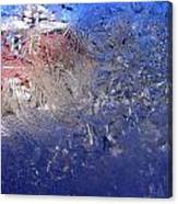 A Wintry Icy Window Canvas Print
