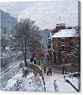 A Wintry Street Scene In Ironbridge Gorge England In Digital Oil Canvas Print