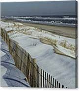 A Wooden Fence Casts A Shadow Canvas Print