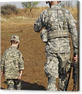 A Young Boy Joins His Squad Leader Canvas Print