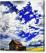 Abandoned Farmhouse In A Canola Field Canvas Print