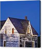 Abandoned House And Moon At Dusk Canvas Print