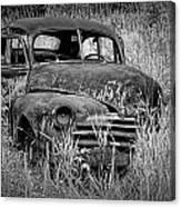 Abandoned Vintage Car Along The Roadside Canvas Print