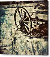 Abandoned Wagon By Old Ghost Town. Canvas Print