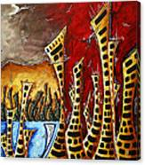 Abstract Art Contemporary Coastal Cityscape 3 Of 3 Capturing The Heart Of The City II By Madart Canvas Print