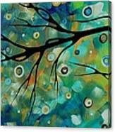Abstract Art Original Landscape Painting Colorful Circles Morning Blues II By Madart Canvas Print