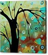 Abstract Art Original Landscape Painting Colorful Circles Morning Blues IIi By Madart Canvas Print