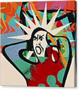 Abstract Artwork Of A Angry Man Holding His Head Canvas Print