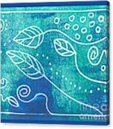 Abstract Block Print In Blue Canvas Print