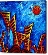 Abstract Cityscape Art Original City Painting The Lost City II By Madart Canvas Print